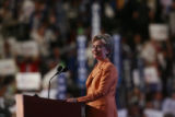 Sen. Hillary Clinton, D-New York, addresses the crowd during the Tuesday, Aug. 26, 2008, session...